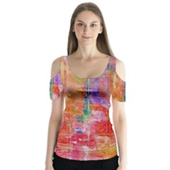 Colorful Watercolors Pattern                             Butterfly Sleeve Cutout Tee