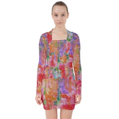 Colorful Watercolors Pattern                               V Neck Bodycon Long Sleeve Dress