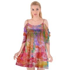 Colorful Watercolors Pattern                     Cutout Spaghetti Strap Chiffon Dress