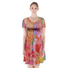 Colorful Watercolors Pattern                                Short Sleeve V Neck Flare Dress