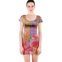 Colorful Watercolors Pattern                            Short Sleeve Bodycon Dress