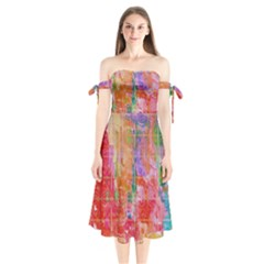 Colorful Watercolors Pattern                    Shoulder Tie Bardot Midi Dress