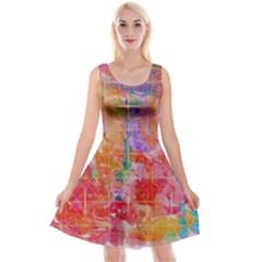 Colorful Watercolors Pattern                                 Reversible Velvet Sleeveless Dress
