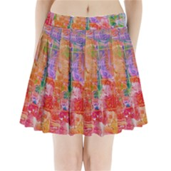 Colorful Watercolors Pattern                        Pleated Mini Mesh Skirt