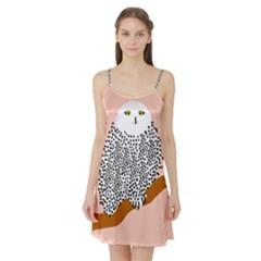 Animals Bird Owl Pink Polka Dots Satin Night Slip