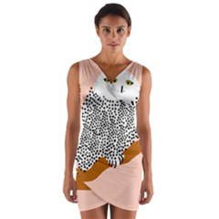 Animals Bird Owl Pink Polka Dots Wrap Front Bodycon Dress