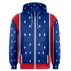 British American Flag Red Blue Star Men s Zipper Hoodie