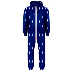 British American Flag Red Blue Star Hooded Jumpsuit (men)