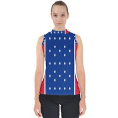 British American Flag Red Blue Star Shell Top