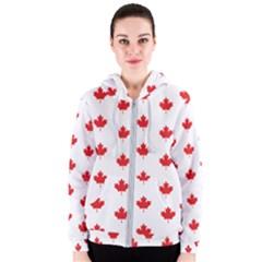 Canadian Maple Leaf Pattern Women s Zipper Hoodie