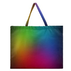 Bright Lines Resolution Image Wallpaper Rainbow Zipper Large Tote Bag