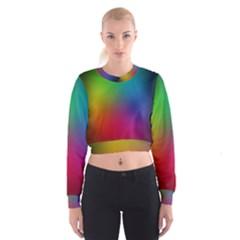 Bright Lines Resolution Image Wallpaper Rainbow Cropped Sweatshirt