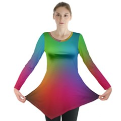 Bright Lines Resolution Image Wallpaper Rainbow Long Sleeve Tunic
