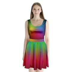Bright Lines Resolution Image Wallpaper Rainbow Split Back Mini Dress