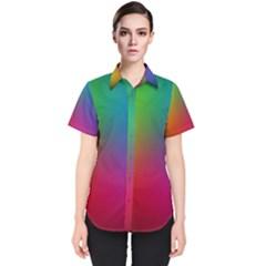 Bright Lines Resolution Image Wallpaper Rainbow Women s Short Sleeve Shirt