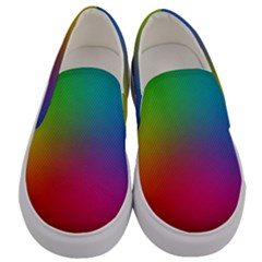 Bright Lines Resolution Image Wallpaper Rainbow Men s Canvas Slip Ons