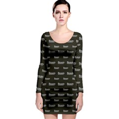 Beauty Moments Phrase Pattern Long Sleeve Bodycon Dress