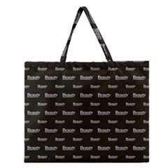 Beauty Moments Phrase Pattern Zipper Large Tote Bag