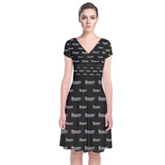 Beauty Moments Phrase Pattern Short Sleeve Front Wrap Dress