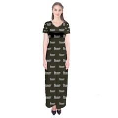 Beauty Moments Phrase Pattern Short Sleeve Maxi Dress