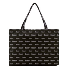 Beauty Moments Phrase Pattern Medium Tote Bag
