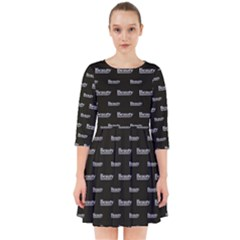 Beauty Moments Phrase Pattern Smock Dress