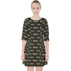 Beauty Moments Phrase Pattern Pocket Dress