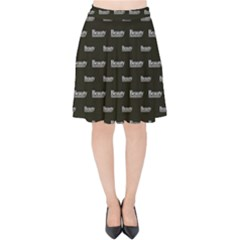 Beauty Moments Phrase Pattern Velvet High Waist Skirt