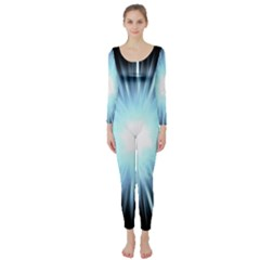 Bright Light On Black Background Long Sleeve Catsuit