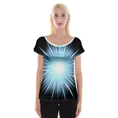 Bright Light On Black Background Cap Sleeve Tops