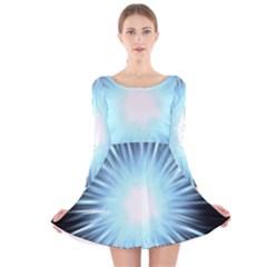Bright Light On Black Background Long Sleeve Velvet Skater Dress