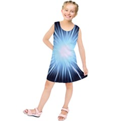 Bright Light On Black Background Kids  Tunic Dress