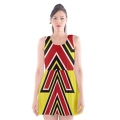 Chevron Symbols Multiple Large Red Yellow Scoop Neck Skater Dress