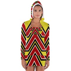 Chevron Symbols Multiple Large Red Yellow Long Sleeve Hooded T Shirt