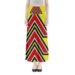 Chevron Symbols Multiple Large Red Yellow Full Length Maxi Skirt