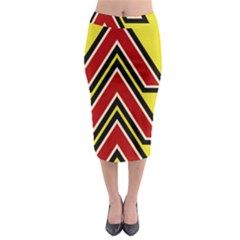 Chevron Symbols Multiple Large Red Yellow Midi Pencil Skirt