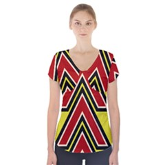 Chevron Symbols Multiple Large Red Yellow Short Sleeve Front Detail Top
