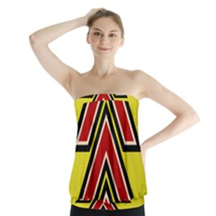 Chevron Symbols Multiple Large Red Yellow Strapless Top