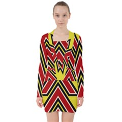 Chevron Symbols Multiple Large Red Yellow V Neck Bodycon Long Sleeve Dress