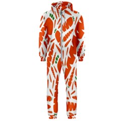 Carrots Fruit Vegetable Orange Hooded Jumpsuit (men)