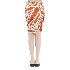 Carrots Fruit Vegetable Orange Midi Wrap Pencil Skirt