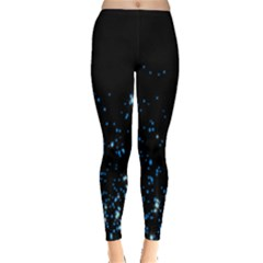 Blue Glowing Star Particle Random Motion Graphic Space Black Leggings