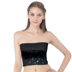 Blue Glowing Star Particle Random Motion Graphic Space Black Tube Top