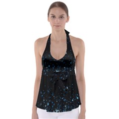 Blue Glowing Star Particle Random Motion Graphic Space Black Babydoll Tankini Top