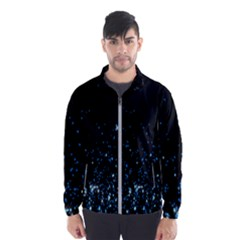 Blue Glowing Star Particle Random Motion Graphic Space Black Wind Breaker (men)
