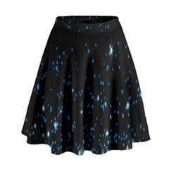 Blue Glowing Star Particle Random Motion Graphic Space Black High Waist Skirt