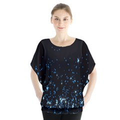 Blue Glowing Star Particle Random Motion Graphic Space Black Blouse