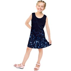 Blue Glowing Star Particle Random Motion Graphic Space Black Kids  Tunic Dress