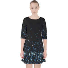 Blue Glowing Star Particle Random Motion Graphic Space Black Pocket Dress