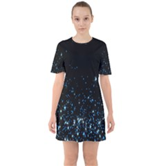 Blue Glowing Star Particle Random Motion Graphic Space Black Sixties Short Sleeve Mini Dress